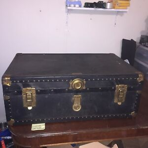 Antique Flat Top Steamer Trunk Vintage Patina Steampunk Travel Chest