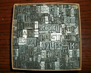 No 102 Vintage Lot Of 300 Pieces Letterpress Printers Lead Type Letters Numbers