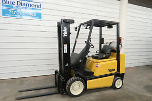 Yale Glc050 5 000 Cushion Tire Forklift Three Stage Mast Sideshift Hyster