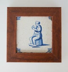 Antique 18th Century Dutch Delft Blue Framed Tile With Figure Man Playing Cards