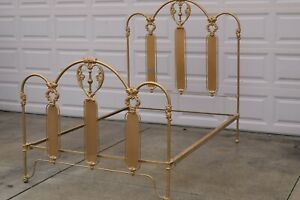 Antique Iron And Brass Bed Full Size Ornate Heart Designs Circa Early 1900 S