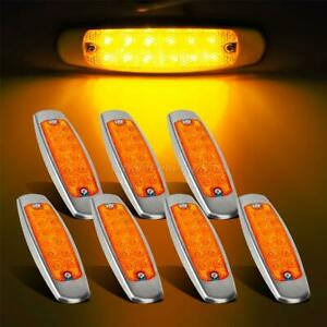 7x 6 1 4 Reflective Amber Lens Led Clearance Marker Light 12led For Peterbilt