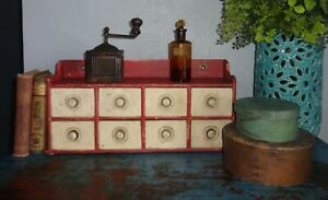 Antique 8 Drawer Spice Cabinet Box Cupboard Old Red Cream Paint Apothecary Aafa