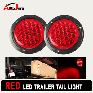 2x 4inch Red Round Tail Superflux 24 Led Stop Brake Signal Lights Trucks Trailer