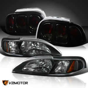 1994 1998 Ford Mustang Black Headlight Corner Lamps Smoke Tail Lights