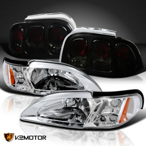 For 1994 1998 Ford Mustang Chrome Headlight Corner Lamps Smoke Tail Lights
