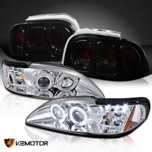 1994 1998 Fit Ford Mustang Clear Led Halo Projector Headlights Smoke Tail Lamps