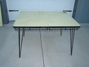Vtg Mid Century 50 S Table W Wrought Iron Hairpin Legs Yellow Formica Top