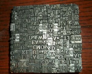 No 103 Vintage Lot Of 350 Pieces Letterpress Printers Lead Type Letters Numbers