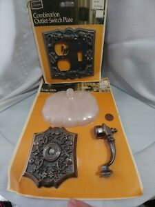 Vtg Sears Wall Light Switch Plate Outlet Cover Soap Dish Hollywood Mcm Nos Lot 2