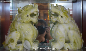 Natural Jade Hand Carved Guardian Feng Shui Foo Fu Dog Lion Beast Statue Pair