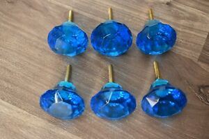 6 Pic Diamond Blue Crystal Glass Door Knobs Cupboard Drawer Cabinet Handles