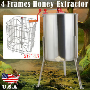 New 4 Frame Beekeeping Equipment Large 304 Stainless Steel Honey Extractor 3 1