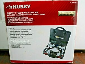 Husky HVLP & Standard Gravity Feed Spray Gun Kit Paint Sprayer Air Tool Auto Car