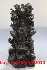 16 China Bronze Stand Lotus Nine Dragon Kwan Yin Guan Yin Kuanyin Goddess Stat