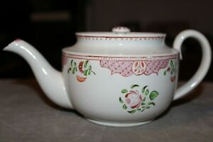 Antique English Pearlware Queen S Rose Variant Teapot Early 19th C Has It S Lid