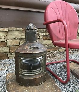 Antique Huge Xl 24 Stuurboord Dutch Navy Nautical Corner Circa 1900 Ship Lantern