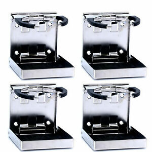 4x Fold up Cup mug Drink Holders Stainless Steel For Marine boat yacht truck rv