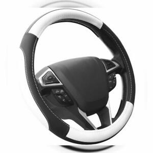 Seg Direct Black And White Microfiber Leather Auto Car Steering Wheel Cover