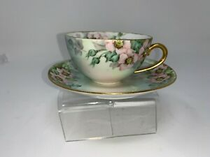German Tea Cup And Saucer Green Floral Pattern Germany Gold Gilt