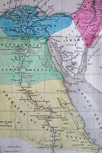 Ancient Egypt Nile Palestine Israel C 1855 Original Hand Color Map