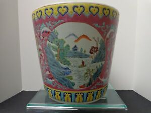 Chinese Vintage 19th 20th Century Famille Rose Decorative Planter