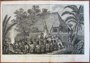 Captain Cook In Hawaii Tribal Offering Scene 1803 Rare Dutch Engraved Print