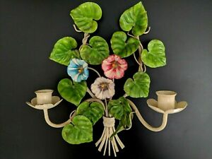 Vintage Italian Tole Morning Glory Flowers Wall Sconce Candleholder Chic Shabby