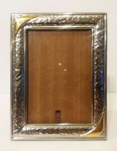 Vintage Sterling Silver Picture Photo Frame 10 1000 Hallmarked W Gold Accents