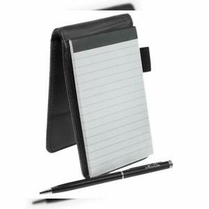 Small Pocket Pu Leather Business Notebook Lined Memo Pad Holder Jotter Book