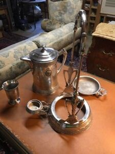 Antique Silver Tilting Tea Pot Chocolate Pot Coffee Pot Warmer With Stand Cup