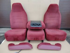 92 96 97 Ford Pickup Truck Front Bucket Jump Seats Red 40 20 40