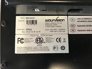 Wolfvision Vz c12 3 Ceiling Visualizer Document Projector