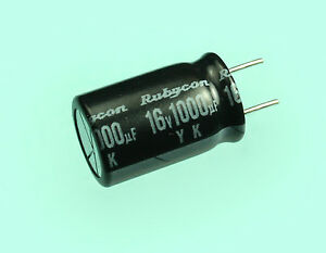 Rubycon Yk 1000uf 16v 85c Radial Electrolytic Capacitor 1000mfd 5 Pack