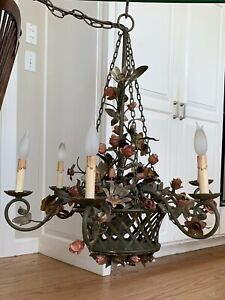 Exquisite Vintage French Tole Flower Basket Chandelier Shabby Chateau 6 Light