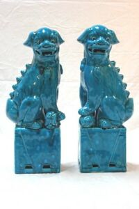 Pair Of Antique Turquoise Porcelain Chinese Foo Dogs 17 High