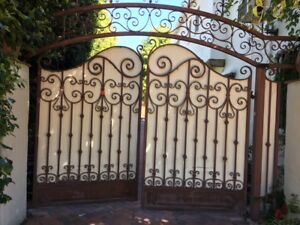 Pair Of C 1920 S Hand Forged Wrought Iron Driveway Gates
