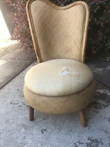 Vintage Chair Low Profile Rattan Wicker Cane Mid Century Accent Padded Seat