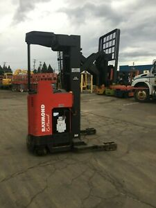 2005 Raymond Forklift Reach Truck 4000lb 211 Lift W Battery Charger 95 tall