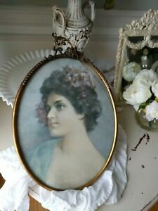 Antique Gilt Ormolu Frame French Victorian Shabby Women Picture Vtg Old Metal