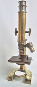 Antique Brass Bausch Lomb Microscope Circa 1900