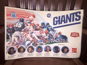 1978 NFL Football Ann Page Coca-Cola New York Giants Defensive Line Placemat