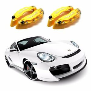 4pcs Yellow 3d Front Rear Universal Disc Car Brake Caliper Covers Us Shipping