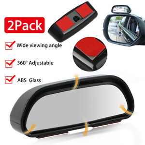 2 Pk Universal Blind Spot Mirror Wide Angle Rear View Car Side Mirror Adjustable
