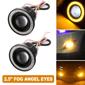 2pcs 2 5 Yellow Angel Eye Halo Ring Car Head Lamp Projector Co Led Fog Light