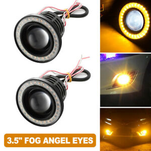 2x High Power 3 5 Led Fog Lights Projector With Cob Yellow Halo Angel Eye Rings