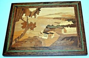 Vtg Inlaid Wood Wall Hanging Marquetry Sorrento Italy Bay Of Naples Nm