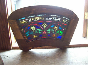 1arched Top And Bottom Dual Fleur De Lis Stained Glass Window Sg 1439