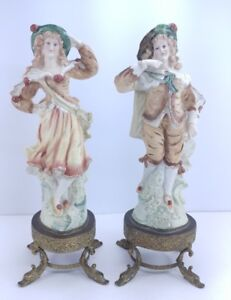 Vintage Antique French Or German Lady Man Couple Bisque Pair Figurine 1886