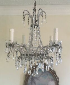 Petite Antique French Italian Crystal Macaroni Opaline Beaded Basket Chandelier